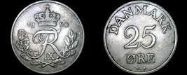1950 Danish 25 Ore World Coin - Denmark - $8.99