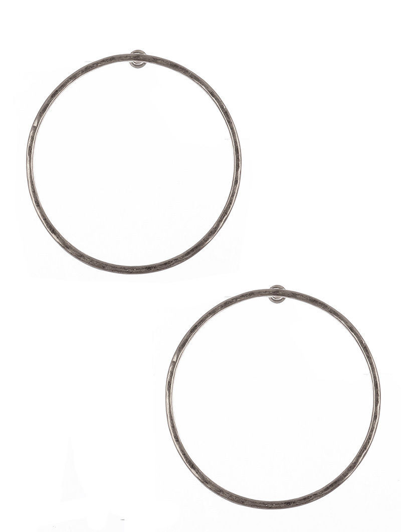 Large Circle Hammered Metal Earrings Circles Silvertone
