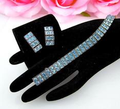 Vintage Rhinestone Bracelet & Earrings Set Light Blue Baguette Demi Parure - $44.95