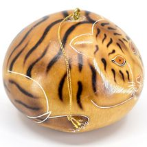 Handcrafted Carved Gourd Art Tiger Big Cat Zoo Animal Ornament Made in Peru image 4