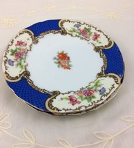 2 Vintage Gold Castle Bread & Butter Plates Blue Floral Scrolls Pattern ... - $14.03