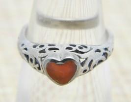 .925 Sterling Silver Reddish Brown Enamel Heart Openwork Ring Size 4 Vintage - $24.74