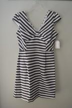 Jessica Simpson - Cap Sleeve Stripe Fit Flare Dress JS5M7039 White Navy ... - $64.35