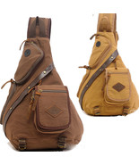 Canvas Sling Chest Bag Motorcycle Travel Hiking BAG Messenger Shoulder Backpack - $28.51