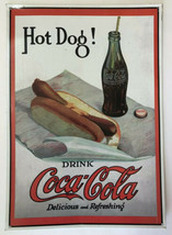 "Retro Coca-Cola Company Drink Coca-Cola Hot Dog Sign 1998 17"" X 12"" - $12.86"