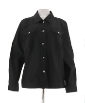 Denim & Co Elegant Stretch Twill Jean Jacket Bling Button Black XS NEW A... - $27.70