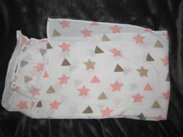 ADEN & + ANAIS White Muslin Baby BLANKET pink Stars Tan Brown Triangles ... - $9.89