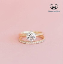 14k Yellow Gold Plated Pure 925 Silver Round Cut Diamond Bridal Wedding Ring Set - $84.99