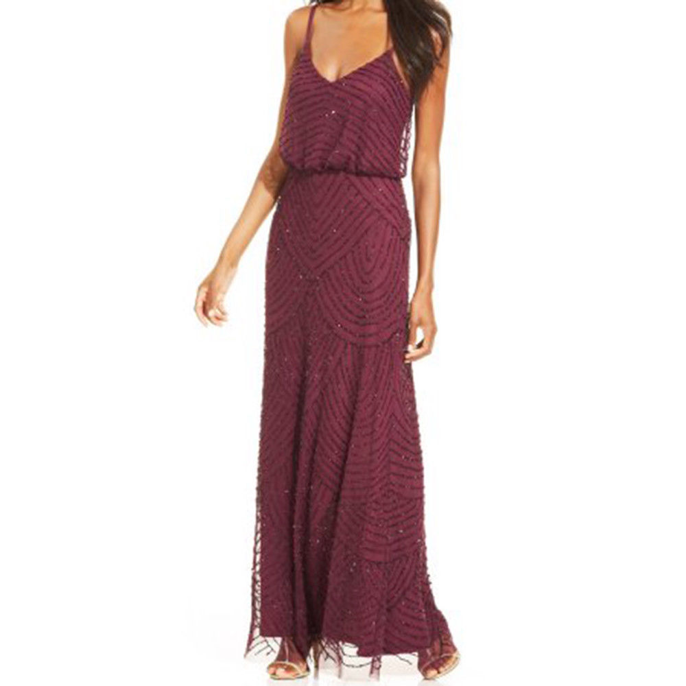 Adrianna Papell Women's Spaghetti Beaded Mesh Long Blouson Dress
