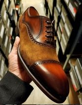 Handmade Men's Brown Leather & Suede Lace Up Dress/Formal Oxford Shoes image 3