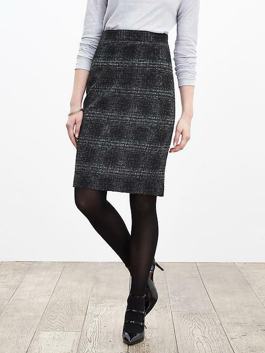 Primary image for Banana Republic Plaid Pencil Skirt, Gray/black, Wool Blend, Size 12, NWT