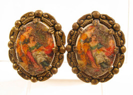 Vintage West Germany Victorian Scene In Glass Gold Plated Clip-On Earrin... - $17.81