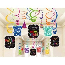 Happy New Year 30 Ct Hanging Swirls Decorations Jewel Tone Asst Colors - $21.09 CAD