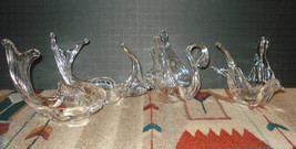 4 Chalet RIEKES Lead Crystal Canada Swan/Fish/Bird/Angelfish Nut Dish ALL 4 - $59.00