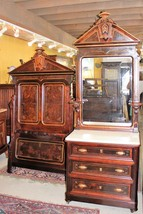 American Antique Solid Rosewood Twin Bed & Dresser | Bedroom Furniture Set  - $3,220.00