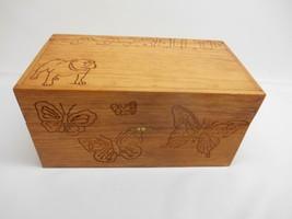 Old Vtg WOOD STORAGE BOX Bulldog Butterfly Motif Trinket Dresser Jewelry... - $29.69