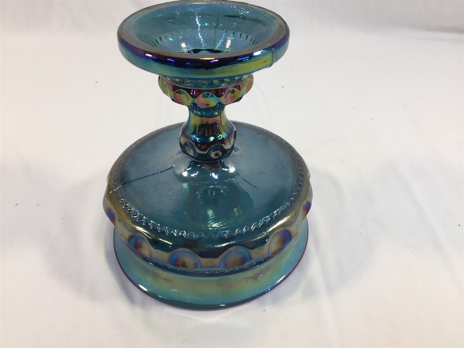 """Vintage Blue Carnival Glass Iridescent Stemmed Candy Dish 5"""" Compote"""