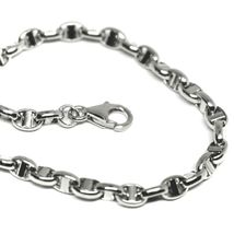 """18K WHITE GOLD CHAIN SAILOR'S NAUTICAL NAVY MARINER BIG OVAL 4mm LINK, 24"""" 60cm image 3"""