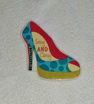 "Bling ""SASSY & CLASSY"" Aqua Red Green Design High Heel Shoe Rhinestone M... - $4.95"
