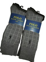 Polo Ralph Lauren men's 6 pair of dress Socks grey black Plaid Solid - $42.03