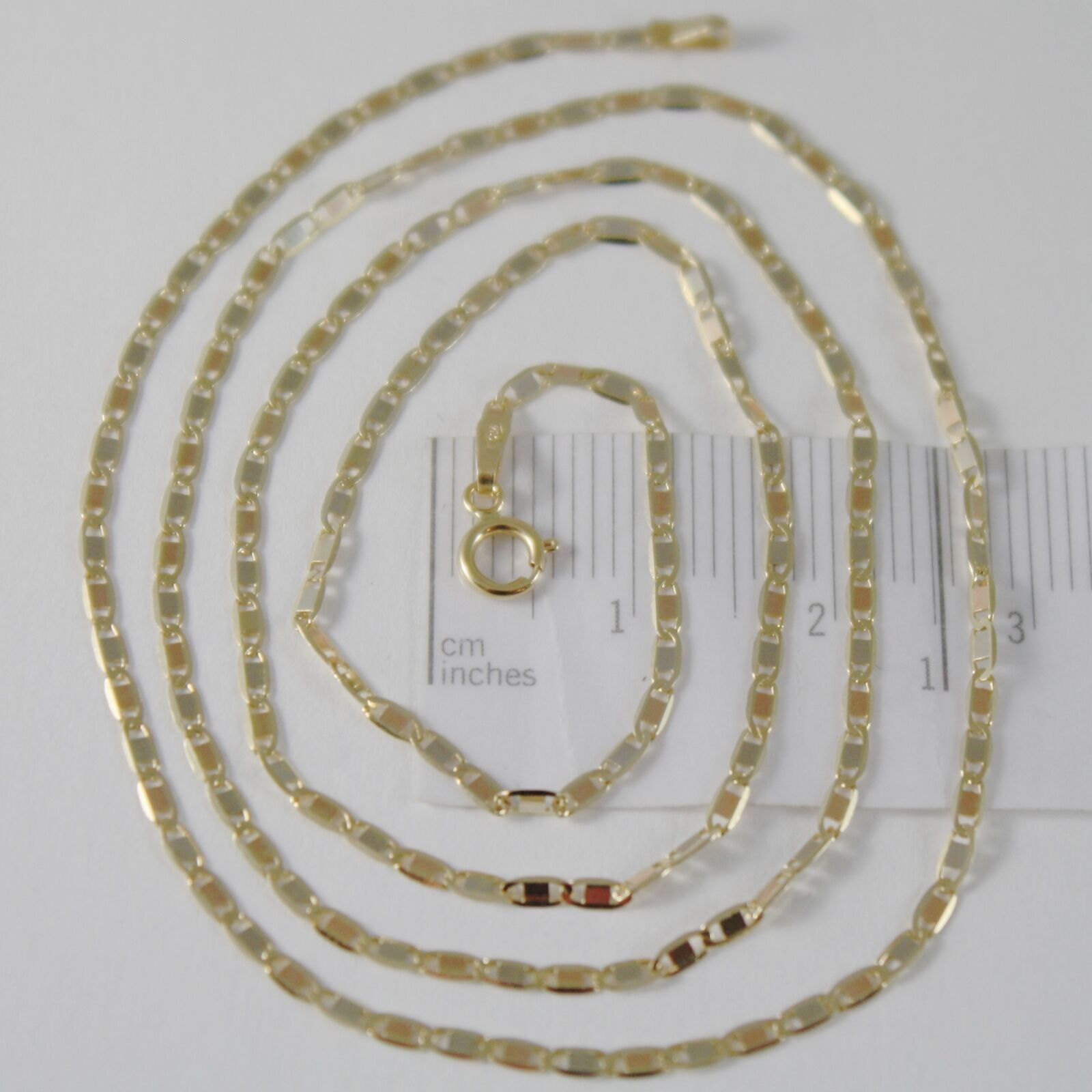 18K YELLOW WHITE ROSE GOLD FLAT BRIGHT OVAL CHAIN 16 INCHES, 2 MM MADE IN ITALY