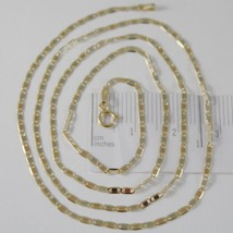 18K YELLOW WHITE ROSE GOLD FLAT BRIGHT OVAL CHAIN 16 INCHES, 2 MM MADE IN ITALY  image 1