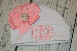 Monogrammed Newborn Girl Beanie Hat with Pink Bow  - $15.00