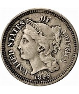 1865 Three Cent Nickel, nice, details and relief, little wear, Nice look... - €4,14 EUR