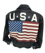 American Flag Black Leather Motorcycle Bomber Jacket Men's Exit USA Size... - $74.76