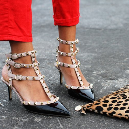 Primary image for flh5 Celebrity Style Trendy Ankle T-strap Studded Pointy Toe Rockstud Heels
