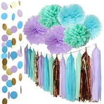 Mermaid Party Decorations Under The Sea Theme Purple Blue Mint Baby Show... - $36.47 CAD