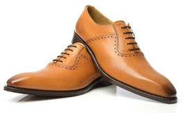Handmade Men's Tan Leather Dress/Formal Oxford Leather Shoes image 3