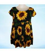 Vintage 90's Contempo Babydoll Dress Big Sunflowers Grunge sz S - $48.26