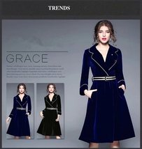 V double-breasted long section of velvet wrapping thin trench dress coat  - $149.99