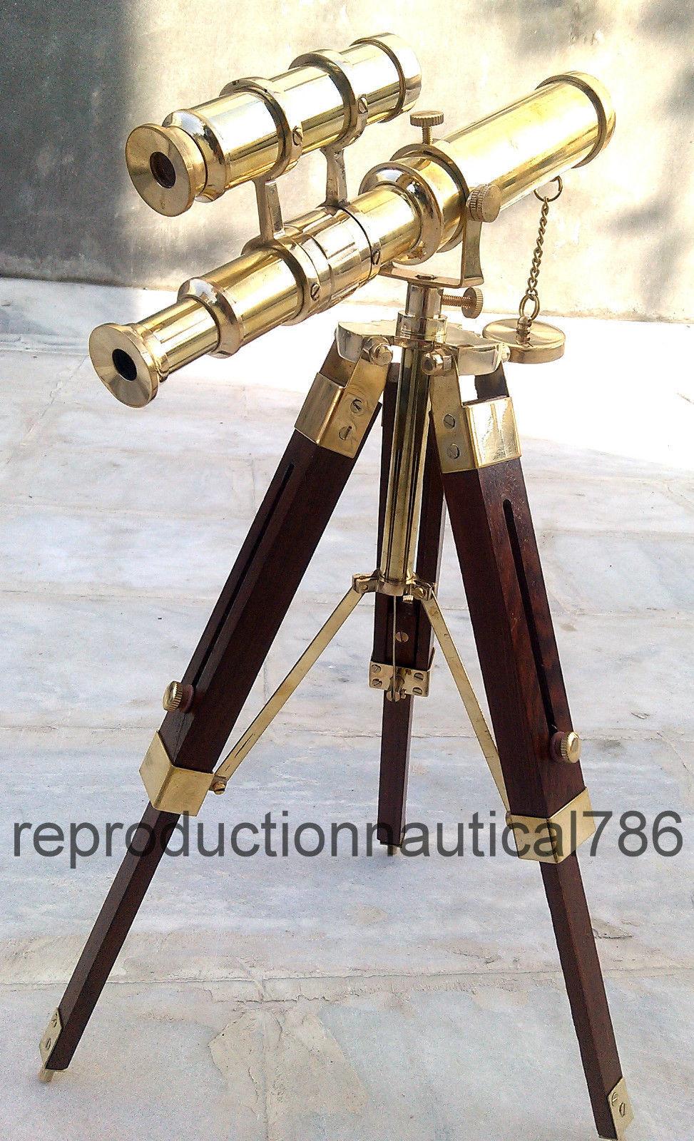 "Vintage  Full Antique Double Barrel Telescope10/"" Brass With Tripod Spyglass item"