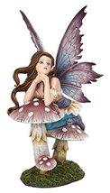 5.25 Inch Fairyland Pink Fairy Leaning on Mushroom Statue Figurine - $19.79