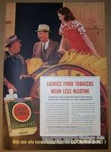 Lucky Strike Cigarettes '40s PRINT AD smoking tobacco leaves farmer farm... - $13.54
