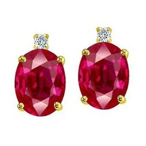 3.52CT Women's 14K Yellow Gold Plated 925 Silver Oval Shape Ruby Stud Ea... - $34.30