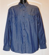 Age of Wisdom Men's Blue Long-Sleeve Snap-Front Western Denim Shirt Size: L