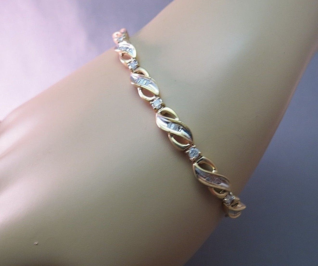 "1 CTTW 10k Yellow Gold Diamond Tennis Bracelet 8g Baguettes Channel Set 7"" Long"