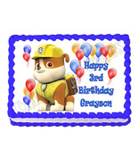 PAW PATROL RUBBLE edible party cake topper decoration frosting sheet image - $7.80