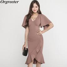 2019 New Summer Dress ladies temperament V neck Slim Ruffled  Fishtail D... - $39.60