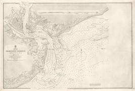 1866 Charleston Harbour Map U.S. Coast Survey chart Coastal Nautical Wal... - $12.38