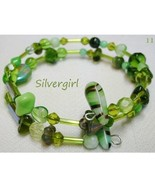 Colorful Handmade Memory Wire Wrap Beaded Bracelet Olives Greens - $14.99