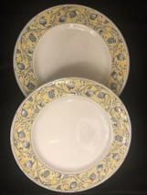 "2 Noritake October Yellow White Blue Fruit Dinner Plates 10 5/8"" NOS - $23.76"