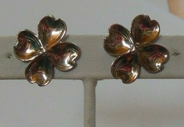Vintage Marked Sterling Four Leaf Clover Screw Back Earrings - $18.99