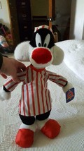"16"" PLUSH 1998 ACE LOONEY TUNES SYLVESTER CAT IN PAJAMAS, NIGHTGOWN,CAP,... - $19.79"