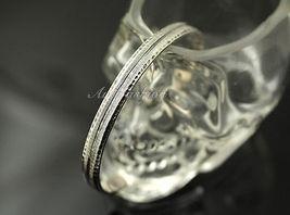 Mens Sterling Silver Bracelet Simple Graved Pattern Bangle Hip Hop Biker b26 image 4