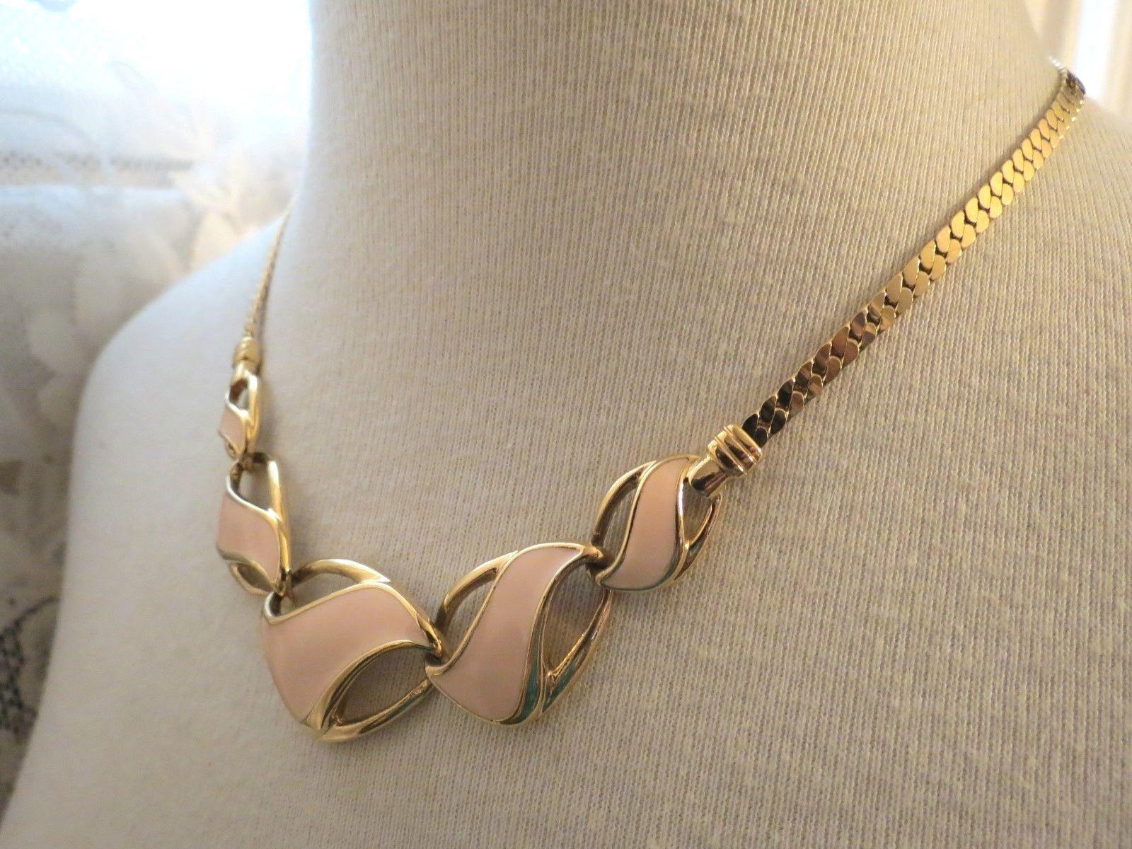 "Trifari Enamel Necklace Bib Pendant Chain Gold Plated Peach Pink 17"" Collar NICE"