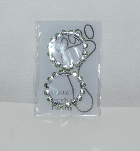 Lime Green Rhinestones Silver Color Toe Rings Single Wide Two per Package